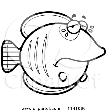 Cartoon Clipart Of A Black And White Crying Sad Butterflyfish - Vector Outlined Coloring Page by Cory Thoman