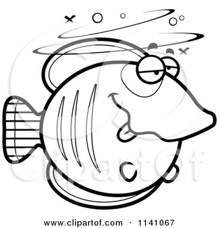 Cartoon Clipart Of A Black And White Drunk Butterflyfish - Vector Outlined Coloring Page by Cory Thoman