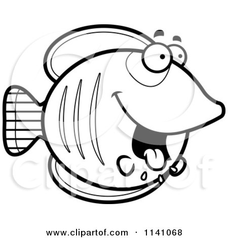 Cartoon Clipart Of A Black And White Drooling Hungry Butterflyfish - Vector Outlined Coloring Page by Cory Thoman