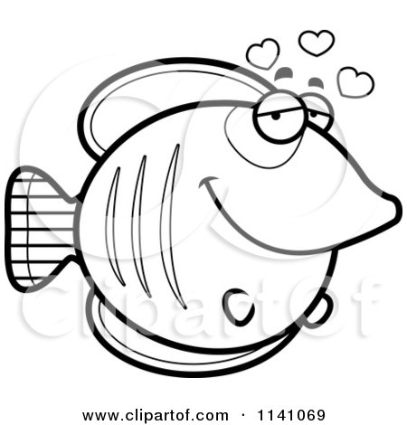 Cartoon Clipart Of A Black And White Butterflyfish In Love - Vector Outlined Coloring Page by Cory Thoman