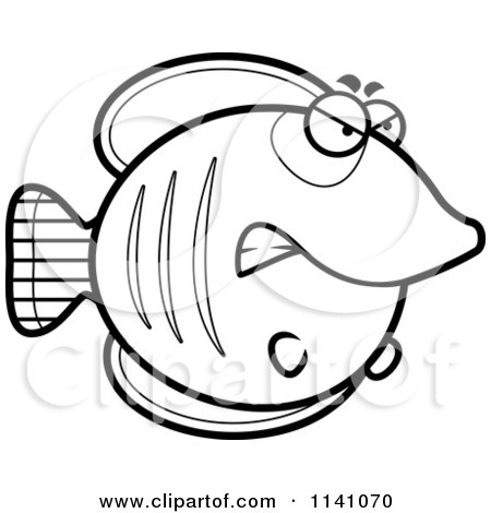 Cartoon Clipart Of A Black And White Angry Butterflyfish - Vector Outlined Coloring Page by Cory Thoman