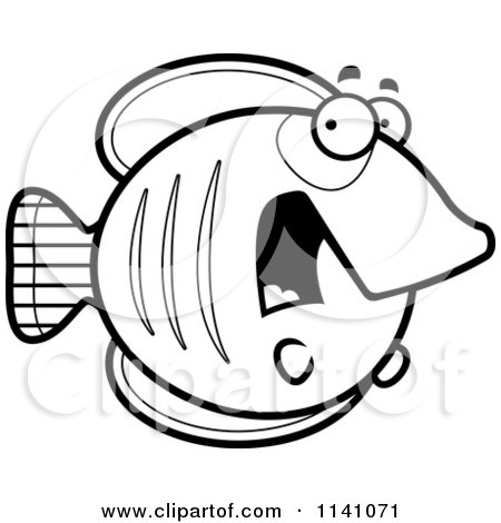 Cartoon Clipart Of A Black And White Scared Butterflyfish - Vector Outlined Coloring Page by Cory Thoman