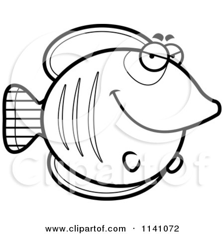 Cartoon Clipart Of A Black And White Sly Butterflyfish - Vector Outlined Coloring Page by Cory Thoman