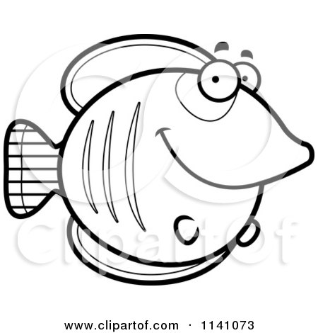 Cartoon Clipart Of A Black And White Happy Smiling