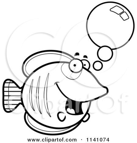 Cartoon Clipart Of A Black And White Talking Butterflyfish - Vector Outlined Coloring Page by Cory Thoman