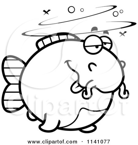 Cartoon Clipart Of A Black And White Drunk Chubby Catfish - Vector Outlined Coloring Page by Cory Thoman