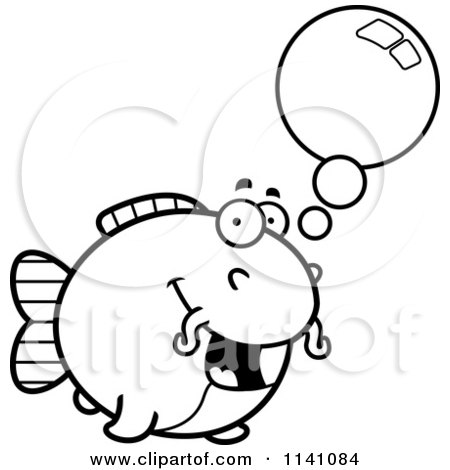 Cartoon Clipart Of A Black And White Talking Chubby Catfish - Vector Outlined Coloring Page by Cory Thoman