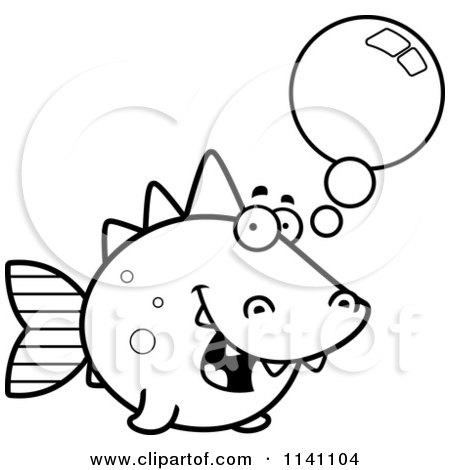 Cartoon Clipart Of A Black And White Talking Dino Fish - Vector Outlined Coloring Page by Cory Thoman