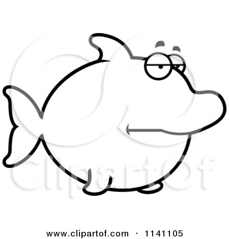 Cartoon Clipart Of A Black And White Bored Dolphin - Vector Outlined Coloring Page by Cory Thoman