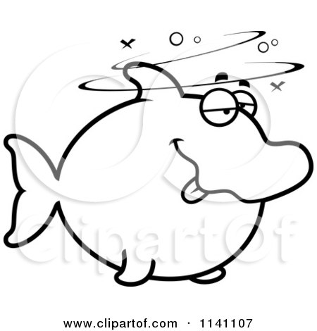 Cartoon Clipart Of A Black And White Drunk Dolphin - Vector Outlined Coloring Page by Cory Thoman