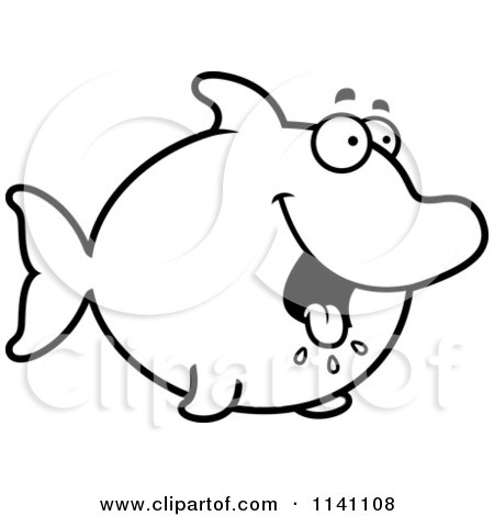 Cartoon Clipart Of A Black And White Hungry Dolphin - Vector Outlined Coloring Page by Cory Thoman