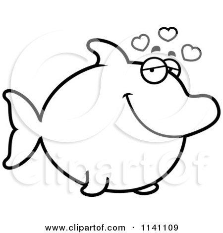 Cartoon Clipart Of A Black And White Amorous Dolphin In Love - Vector Outlined Coloring Page by Cory Thoman