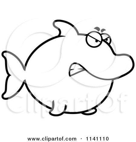 Cartoon Clipart Of A Black And White Angry Dolphin - Vector Outlined Coloring Page by Cory Thoman