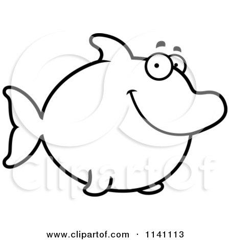 Cartoon Clipart Of A Black And White Happy Dolphin - Vector Outlined Coloring Page by Cory Thoman