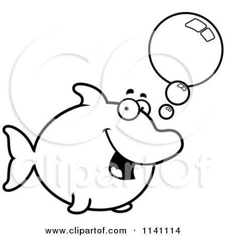 Cartoon Clipart Of A Black And White Talking Dolphin - Vector Outlined Coloring Page by Cory Thoman