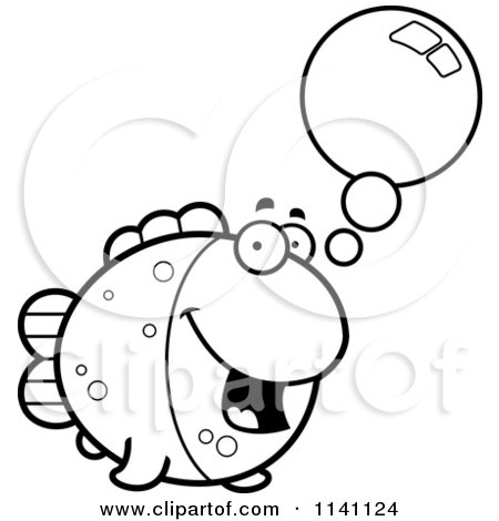 Cartoon Clipart Of A Black And White Talking Fish - Vector Outlined Coloring Page by Cory Thoman