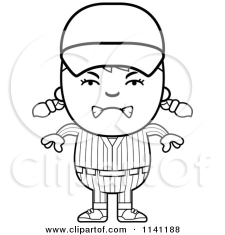 Cartoon Clipart Of A Black And White Angry Baseball Girl - Vector Outlined Coloring Page by Cory Thoman