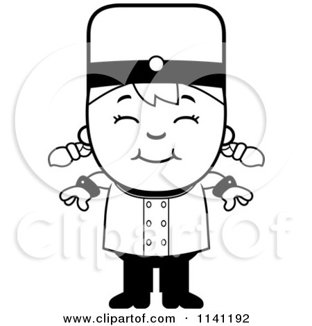 Cartoon Clipart Of A Black And White Bellhop Hotel Girl Smiling - Vector Outlined Coloring Page by Cory Thoman
