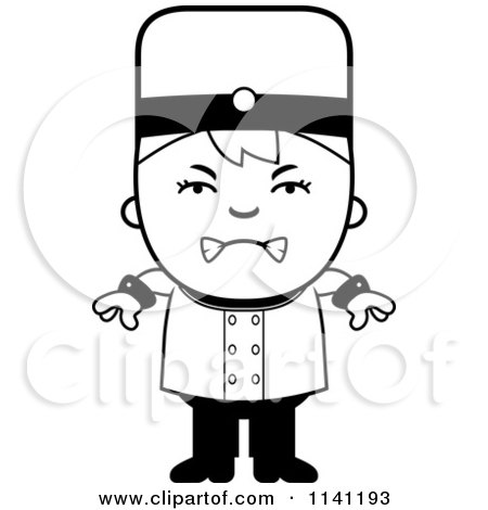 Cartoon Clipart Of A Black And White Mad Bellhop Hotel Boy - Vector Outlined Coloring Page by Cory Thoman