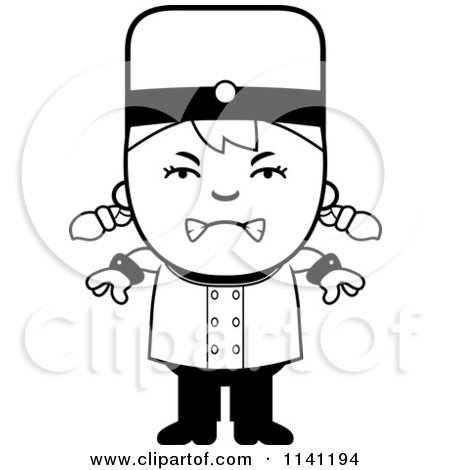Cartoon Clipart Of A Black And White Mad Bellhop Hotel Girl - Vector Outlined Coloring Page by Cory Thoman