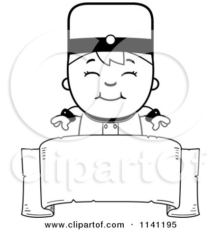 Cartoon Clipart Of A Black And White Bellhop Hotel Boy Over A Banner - Vector Outlined Coloring Page by Cory Thoman