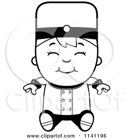 Cartoon Clipart Of A Black And White Bellhop Hotel Boy Sitting - Vector Outlined Coloring Page by Cory Thoman