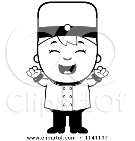Cartoon Clipart Of A Black And White Bellhop Hotel Boy Cheering - Vector Outlined Coloring Page by Cory Thoman
