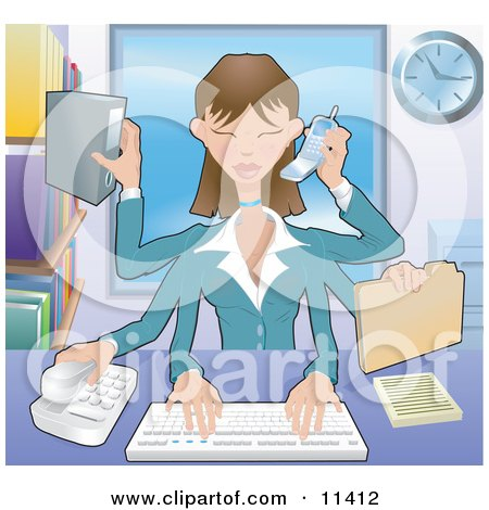 Busy Multi Tasking Assistant Secretary Woman Typing, Filing, Organizing and Taking Phone Calls Clipart Illustration by AtStockIllustration