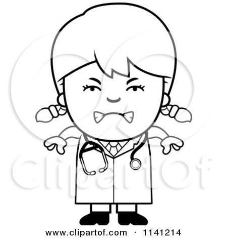Cartoon Clipart Of A Black And White Angry Doctor Or Veterinarian