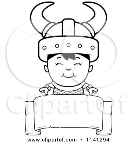 cartoon clipart of a black and white happy ogre viking boy over a banner sign vector outlined coloring page by cory thoman