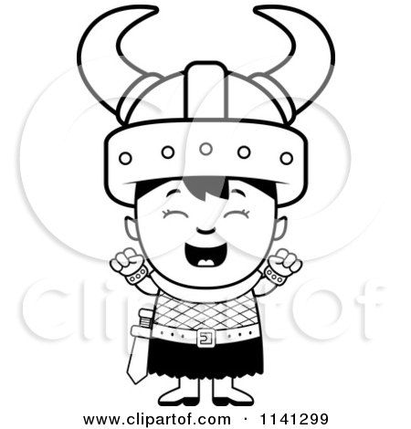 cartoon clipart of a black and white happy ogre viking boy cheering vector outlined coloring page by cory thoman