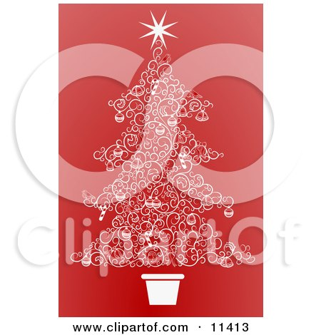 Christmas Tree Made of White Swirls Over Red Posters, Art Prints
