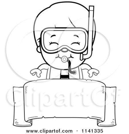 Cartoon Clipart Of A Black And White Happy Scuba Boy Over A Blank Banner - Vector Outlined Coloring Page by Cory Thoman
