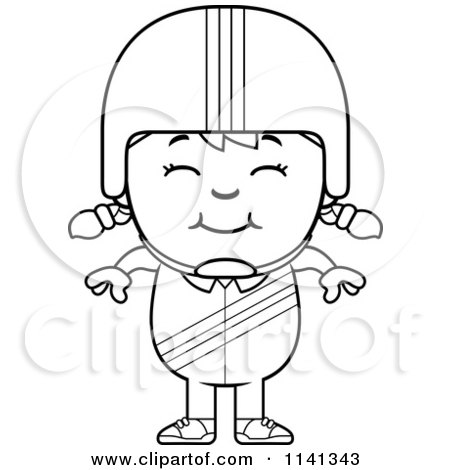 Cartoon Clipart Of A Black And White Happy Daredevil Stunt Girl - Vector Outlined Coloring Page by Cory Thoman