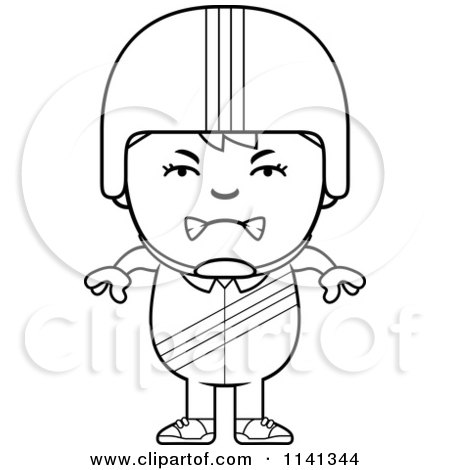 Cartoon Clipart Of A Black And White Angry Daredevil Stunt Boy - Vector Outlined Coloring Page by Cory Thoman