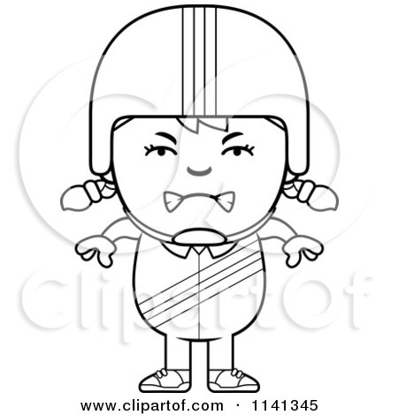 Cartoon Clipart Of A Black And White Angry Daredevil Stunt Girl - Vector Outlined Coloring Page by Cory Thoman