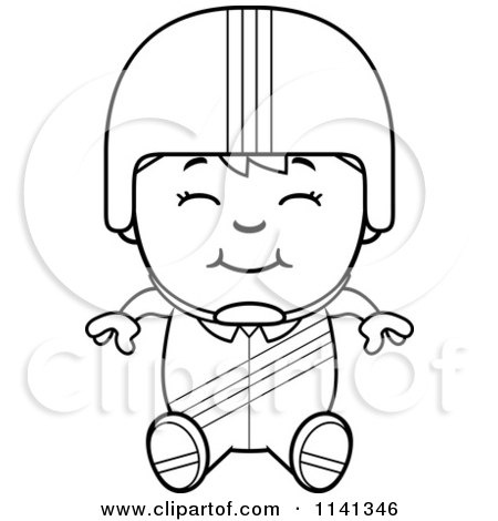 Cartoon Clipart Of A Black And White Happy Daredevil Stunt Boy Sitting - Vector Outlined Coloring Page by Cory Thoman