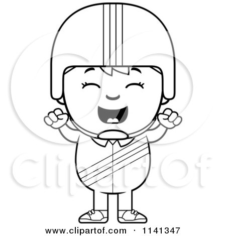Cartoon Clipart Of A Black And White Happy Daredevil Stunt Boy Cheering - Vector Outlined Coloring Page by Cory Thoman