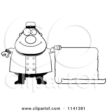 Cartoon Clipart Of A Black And White Happy Bellhop Worker Holding A Sign - Vector Outlined Coloring Page by Cory Thoman