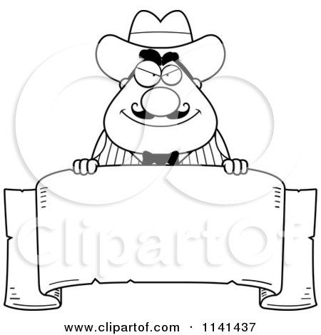 Cartoon Clipart Of A Black And White Happy Chubby Male Wild West ...