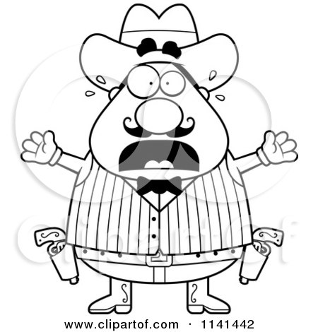 Cartoon Clipart Of A Black And White Scared Chubby Male Wild West Cowboy - Vector Outlined Coloring Page by Cory Thoman