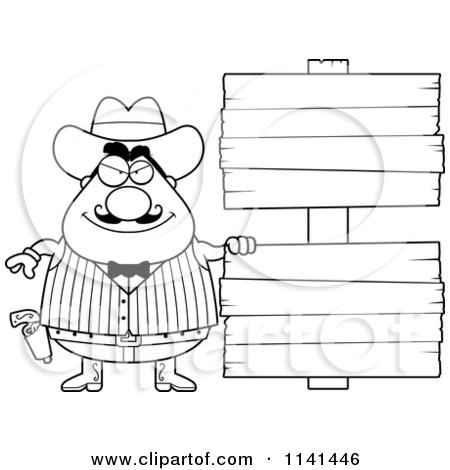 Cartoon Clipart Of A Black And White Happy Chubby Male Wild West Cowboy With A Wooden Sign - Vector Outlined Coloring Page by Cory Thoman