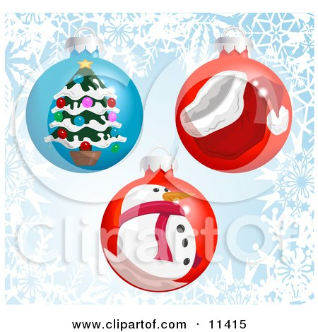 Three Christmas Bauble Ornaments With a Snowflake Background Clipart Illustration by AtStockIllustration