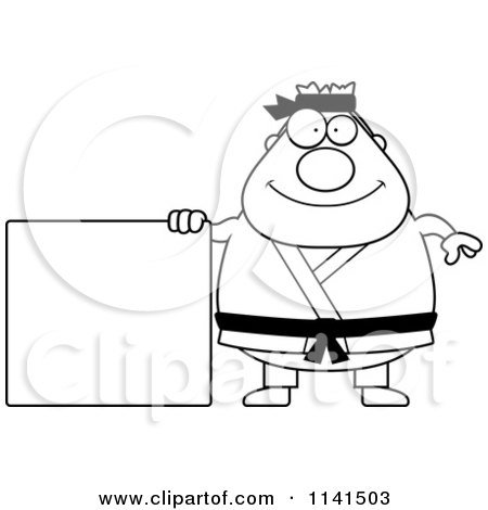 Cartoon Clipart Of A Black And White Chubby Belt Karate Man With Sign
