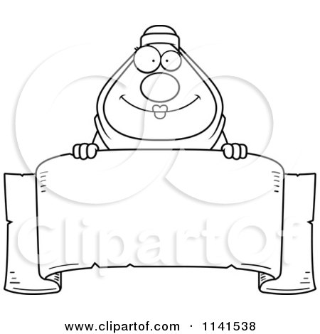 Cartoon Clipart Of A Black And White Chubby Muslim Woman Over A Banner Sign - Vector Outlined Coloring Page by Cory Thoman