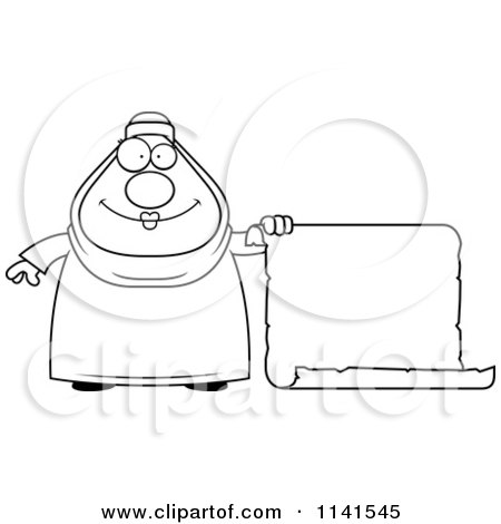 Cartoon Clipart Of A Black And White Chubby Muslim Woman With A Sign - Vector Outlined Coloring Page by Cory Thoman