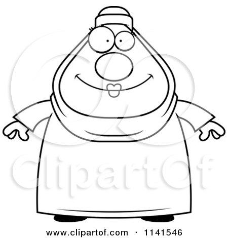 Cartoon Clipart Of A Black And White Chubby Muslim Woman - Vector Outlined Coloring Page by Cory Thoman