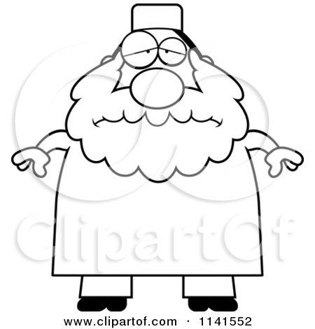 Cartoon Clipart Of A Black And White Depressed Chubby Muslim Man - Vector Outlined Coloring Page by Cory Thoman