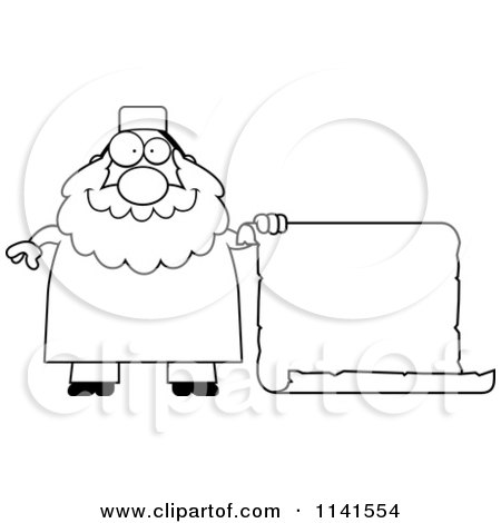 Cartoon Clipart Of A Black And White Chubby Muslim Man With A Sign - Vector Outlined Coloring Page by Cory Thoman