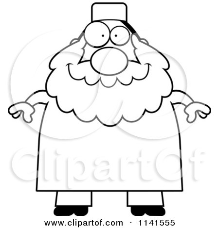 Cartoon Clipart Of A Black And White Chubby Muslim Man - Vector Outlined Coloring Page by Cory Thoman